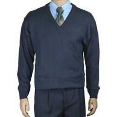 Blusa de lã  masculina decote v para uso profissional