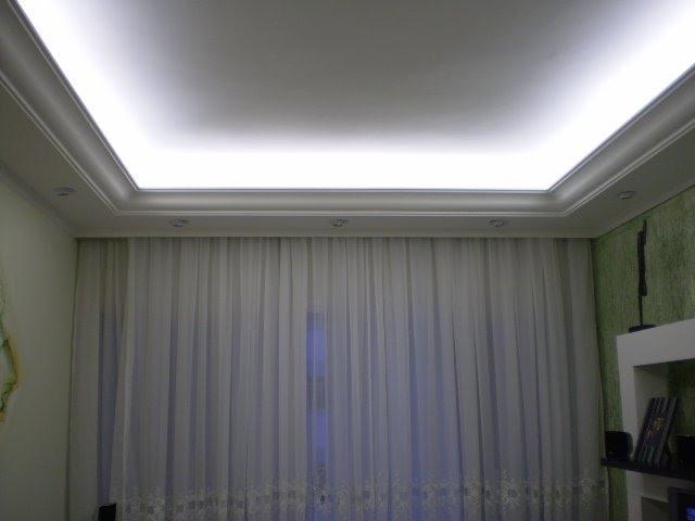 teto com placa de gesso60x60 e sancas abertas com luz indireta