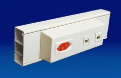 Canaleta em alumínio (70x30mm) com dois interseptos centralizados para tomadas elétricas e rj45. acabamento: pintura branca