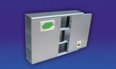 Canaleta em alumínio (150x40mm) com dois interseptos centralizados para tomadas elétricas e rj45. acabamento: anodizado fosco