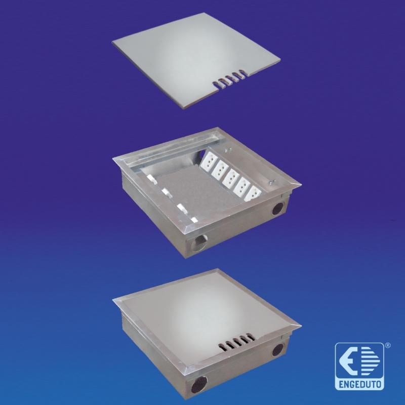 Caixa para Piso Elevado em aluminio (tomadas elétricas e conectores RJ45). Tampas com ou sem rebaixo.