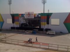 Programação visual de palco.