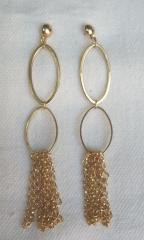 Brincos folheado ouro 18k com elos e correntes