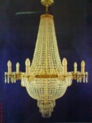 Lustre império restauramos polimento no bronze e limpeza nos cristais