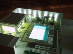 �rea de lazer pr�dio residencial 1/100 iluminada projeto e maquete tom horikawa