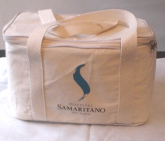 Bolsa térmica eco-recicla, em lona de algodão crú.