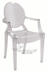 Cadeira louiz ghost com braço transp