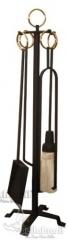 Kit ferramenta acessório para lareira preto com argolas de latão dourado - www.bellabrasil.com.br