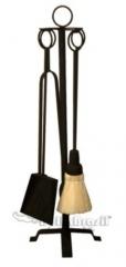 Kit ferramenta acessório para lareira preto com argolas pretas - www.bellabrasil.com.br
