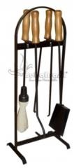 Kit ferramenta acessório para lareira preto com cabo de madeira - www.bellabrasil.com.br
