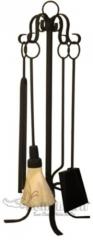 Kit ferramenta acessório para lareira preto com trabalho em s - www.bellabrasil.com.br