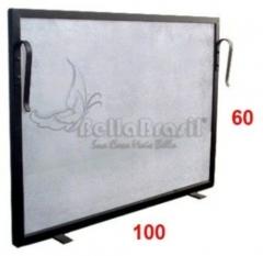 Tela grade de prote��o para lareira 100x60cm preto rustico -www.bellabrasil.com.br