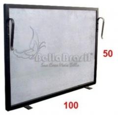 Tela grade de proteção para lareira 100x50cm preto rustico - www.bellabrasil.com.br