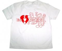 Camiseta estampa eu amo rock´n roll