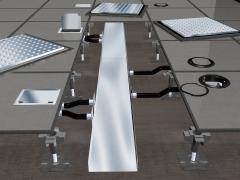 As calhas para piso elevado são trechos retos que servem de canal para alimentação. podem ser aramadas (leito aramado) ou em chapa galvanizada (eletrocalha). as calhas com divisões auxiliam a não interferências causadas entre os cabos de telefonia, dados e energia. os suportes e caixas de tomada são utilizados para alimentação dos equipamentos de energia, voz e dados. oferecem variação de acabamentos conforme peculiaridade de cada projeto.