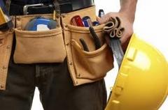 Material usado na obra e proteção para o trabalhador