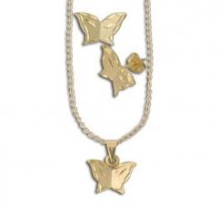 Brinco em forma de borboleta folheado a ouro c/ strass