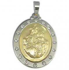Medalha da Mãe Rainha em aço inox com pedrinhas de strass