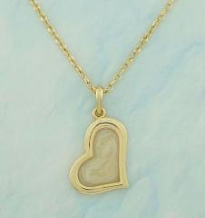 Colar coração em 2 peças. fundo em resina perolizada com aro dourado sobreposto