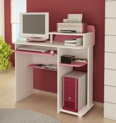 Mesa para computador ipanema branco com rosa
