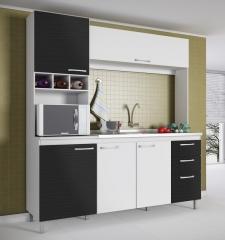 Cozinha yasmin branco com preto textura