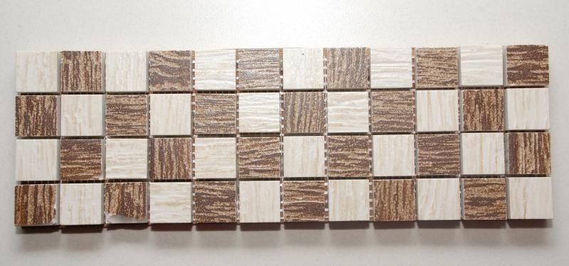 Mosaico legno mogno marfim 10x32 em porcelanato