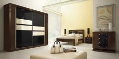 Dormitório diamante imbuia (wengue) / preto + espelho