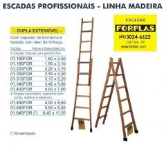 Escada dupla extensível em madeira, vários tamanhos