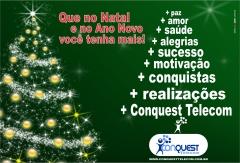 Arte natalina da Conquest Internet para mídia impressa de 2011