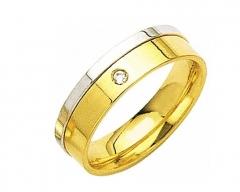 Alian�a sem solda, torneada, em ouro 18 k, para bodas ou casamento. modelo: reta anat�mica , largura: 6.0 mm  detalhes: acabamento polido com uma lateral em ouro branco e 1 diamante de 3 pontos  (somente na feminina) peso do par: 12.0