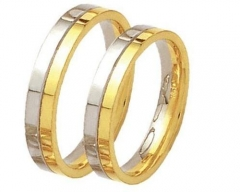 Alian�a sem solda, torneada, em ouro 18 k, para bodas ou casamento. modelo: reta anat�mica largura: 3.5 mm  detalhes: acabamento polido com uma lateral em ouro amarelo e outra em ouro branco.  peso do par: 6.0