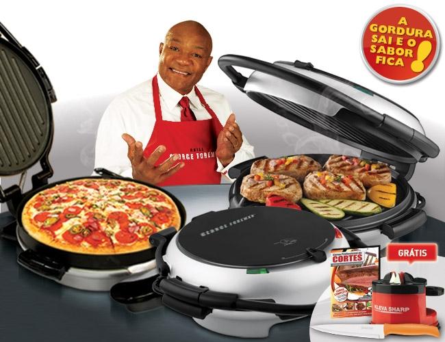 Grill Geoge Foreman 360, faz um churrasco, retirando grande parte da gordura deixando o sabor