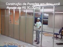 Construção paredes em dray wall