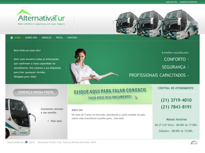 Criação do site da Alternativa Turismo.