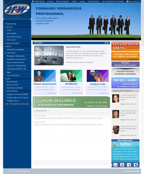 Criação de layout para o novo portal da JFW Cursos Profissionalizantes