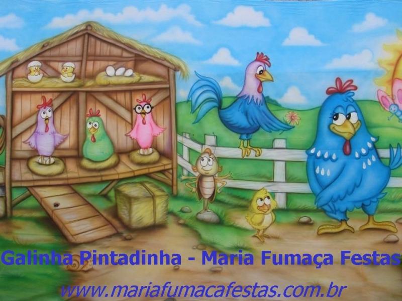 Painel Temático para decoração do tema A Galinha Pintadinha da Maria Fumaça Festas - www.mariafumacafestas.com.br