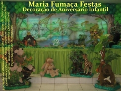 Sua decoração de aniversário infantil vira uma verdadeira selva da áfrica com este tema da maria fumaça festas. veja mais detalhes e fotos acessando: http://www.mariafumacafestas.com.br/temas/galeria_selva_safari.html