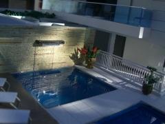 Edificio fountain hit construtora quadra - maquete iluminada 1/50 (vista da piscina)