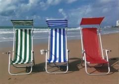 Cadeira de praia em alumínio com 2 posições e tenda solar
