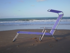 Espreguiçadeira em alumínio com 2 posições e tenda solar