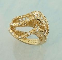 Anel ondas banhado a ouro com strass cristal