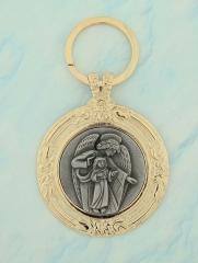 Medalhão de berço Anjo da Guarda, banhado a ouro e miolo em prata velha.