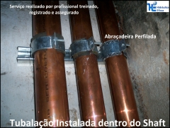 Instalação de tubulação no shaft