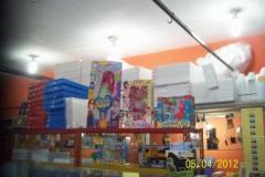 Na foto: Brinquedos e placas de isopor para trabalhos escolares