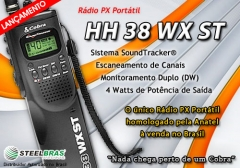 Lançamento: rádio cobra px portátil hh 38 wx st