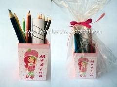 Lembranças para centro de mesa, porta lápis personalizado com kit de colorir