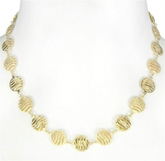 Colar de corrente importada de círculos achatados e vazados, folheado a ouro ou prata.