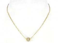Colar de corrente veneziana com bola de cristais passante, folheado a ouro ou prata.