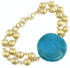Pulseira de bolas de metal, com pastilha redonda ondulada resina imitação de pedra, folheado a ouro ou prata.