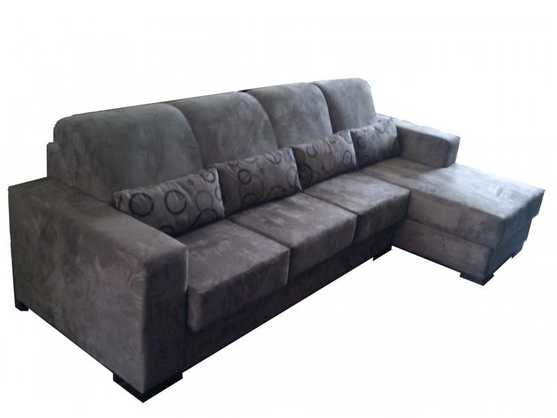 Magnificent Foto Sofa 3 Lugares Retratil Chaise Em Suede Machost Co Dining Chair Design Ideas Machostcouk